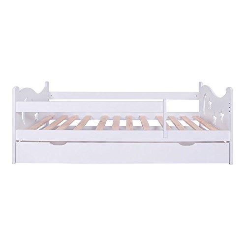 KAGU Chrisi Kinderbett Jugendbett Juniorbett Bett (140x70 cm oder 160x80 cm). Kiefernholz Massivholz inkl. Matratze und Schublade. Farbe:White, Größe: 160 x 80 cm -