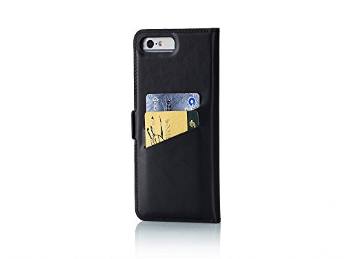 UTECTION cover iPhone 7 Plus / 8 Plus vera pelle book-style leather case rigida Wallet - Custodia in vera vacchetta iPhone 7 Plus / 8 Plus (5,5  pollici) libro porta carte di credito e banconote| N Nero