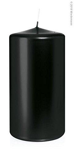 Schwarz Lackiert (Wiedemann 6X Stumpenkerzen lackiert in Cellophan 150/80mm (Schwarz Hochglanz))