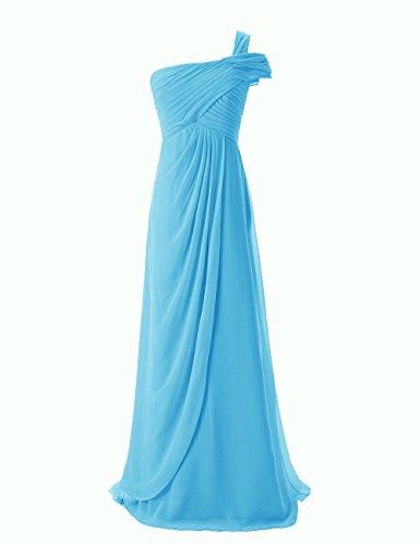 Dresstells, Robe de soirée Robe de cérémonie Robe de demoiselle d'honneur mousseline longue une épaule Bleu