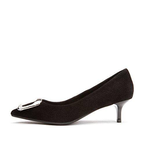 PUMPS Damen Flache Gläser und Fersen,Spitze Quadratische Schnalle Schuhe-A Fußlänge=23.3CM(9.2Inch)