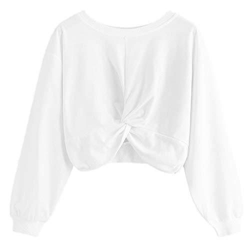 TWBB Sweatshirt Damen Twist Einfarbig Kurz Pullover Langarm -