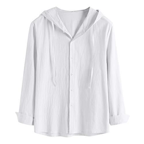 Hase Schildkröte Und Kostüm Der - TAMALLU Herren T-Shirts Modische Einfarbig Baumwollmischung Kapuzenpullover Herbst Tops(Weiß,L)