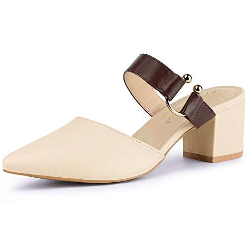 Allegra K Damen Pointed Toe Slingback Blockabsatz Mules Sandalen Beige 39 EU/Label Size 8 US -