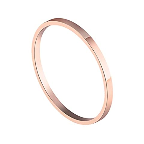 PMTIER Women's Stainless Steel Rose Gold Plated Plain Thin Ring Set Wedding Band Size 6