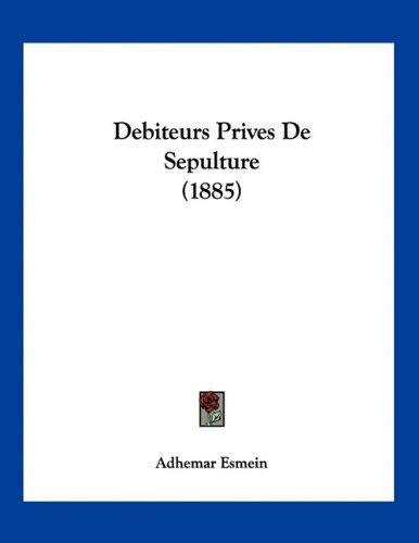 Debiteurs Prives de Sepulture (1885)