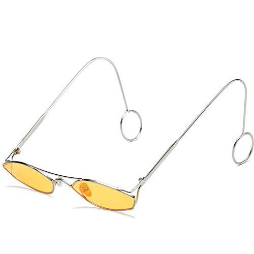 YOURSN Mode Metallrahmen Kleine Sonnenbrille Frauen Designer Ozean Objektiv Spiegel Vintage Gelb Sonnenbrille Für Männer Uv400-Yellow
