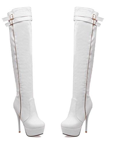 YE Damen High Heels Plateau Overknee Stiefel mit Rote Sohle Stiletto Schnallen Kniehoch Boots Weiß