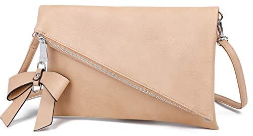 Løkke - Damen Clutch Braun Handtasche - Tasche mit abnehmbarem Schulterriemen - Abendtasche Schultertasche Umhängetasche - inkl. Schleife