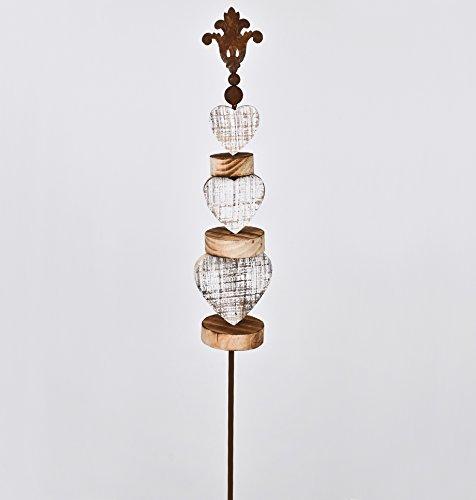 floristikvergleich.de Gartenstecker Herz Country Design Metall Holz 160x14x11cm Edelrost Garten