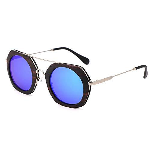 Zbertx Neue Ebenholz Sonnenbrille Polarisierte Handgemachte Bambus Frauen Sonnenbrille Sonnenbrille Männer,Blau