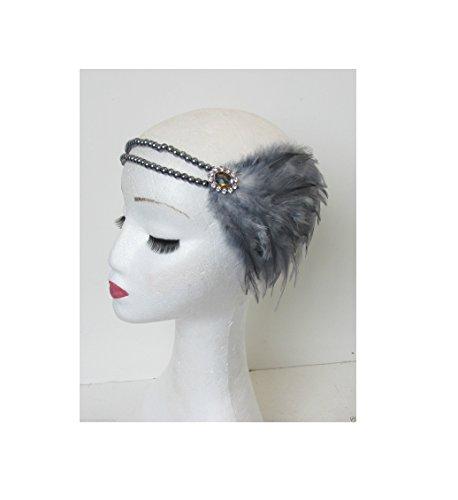 Argent Gris foncé plume bandeau bandeau Flapper perle Vintage Années 1930 P55 * * * * * * * * exclusivement vendu par – Beauté * * * * * * * *
