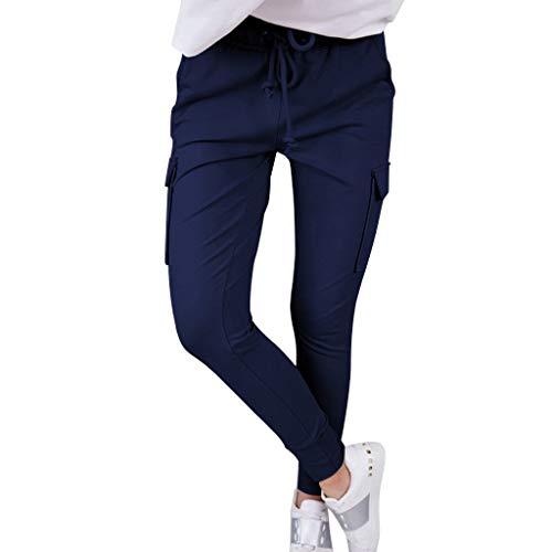 Damen Freizeithose Slim Haremshose,Damenmode schmalen Trägern Hose Frauen knöchellangen Hosen Baumwolle und Leinen hohe Taille einfarbig Hosen Damen Hosen S-XXL -