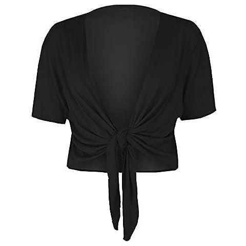 Womens Ladies Short Sleeves Front Tie Knot Cardigan Bolero Wrap Shrug Crop Top