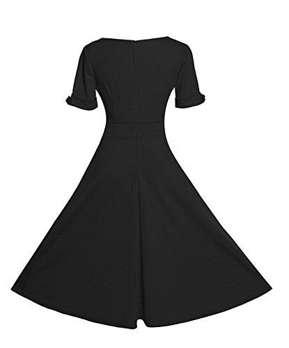 Gigileer Elegant 50s Rockabilly Damen Kleider Cocktailkleid Winter Knielanges Kurzarm festlich hochzeit schwarz XXXL -