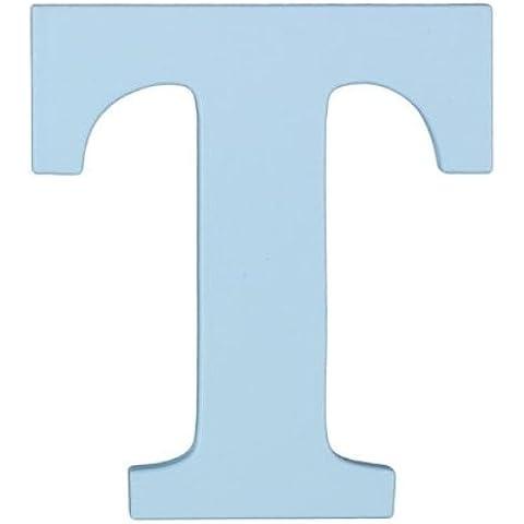 In legno lettera «T» iniziali da appendere, colore: azzurro