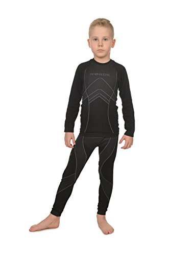 Freenord NORDE THERMOTECH Kinder Sport Thermoaktiv Atmungsaktiv Funktionswäsche (Hemd + Hose) Set (Schwarz/Blau, 110/116)