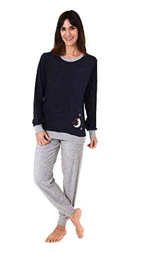 RELAX by Normann Damen Frottee Pyjama lang mit Bündchen - 61696, Farbe:Navy, Größe2:44/46