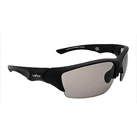 WrApz Stormbird-Occhiali da sole sportivi, lenti fotocromatiche, colore: nero con cornice Transiton TR90 Flex-Sacchetto per pulizia lenti