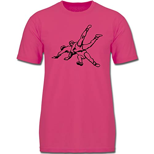 Sport Kind - Ringen - 128 (7/8 Jahre) - Fuchsia - F130K - Jungen Kinder T-Shirt