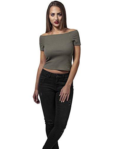 Urban Classics Ladies Off Shoulder Rib Tee T-shirt Femme olive Olive