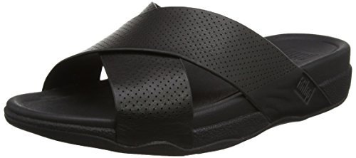 FitFlop Herren Surfer Perf Mens Leather Slide Sandalen, Schwarz (Schwarz), 43 EU (9 UK)