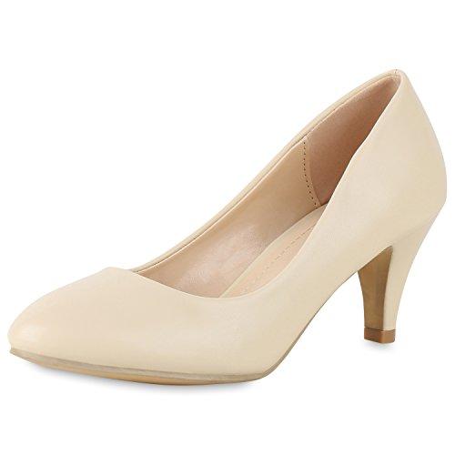SCARPE VITA Klassische Damen Pumps Basic Leder-Optik Schuhe Stiletto Mid Heels 164186 Creme Creme 40