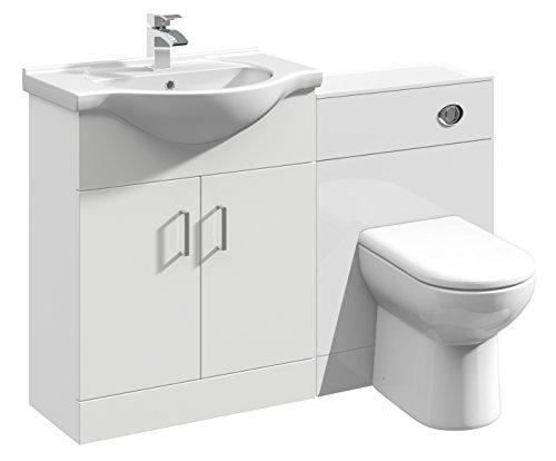 1150mm Modular Hochglanz weiß Badezimmer Kombination Waschtisch Waschbecken Unterschrank, WC WC-Möbel & BTW Pfanne (Eitelkeit Holz-badezimmer-waschbecken)