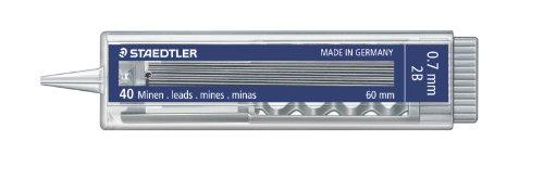 STAEDTLER 25507-2B – Estuche de 40 minas 0.7 mm 2B con pulsador, 1 unidad