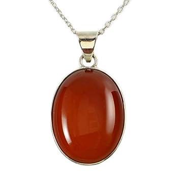 Sterling Silber 925 Ovale Orange Karneol Anhänger Halskette 40+5cm Kette – mit Elegante Geschenkbox