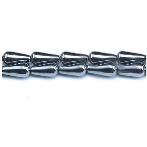 Filo 24+ Grigio Ematite (Non Magnetico) 8 x 16mm Briolette Liscio Perline - (GS6849) - Charming Beads
