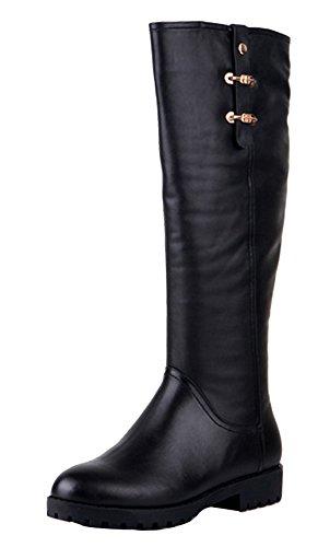 BTWE Bottes femme semelle de caoutchouc Talon bas Doublure de coton botas a la moda