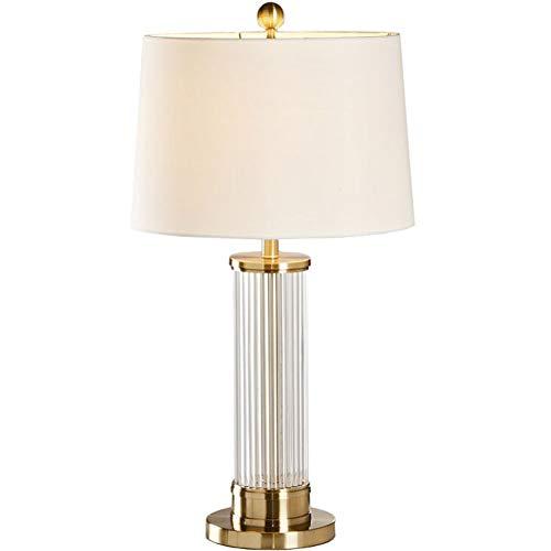 Tischlampe Crystal White Tapered Drum Shade for Wohnzimmer Familie Schlafzimmer 38 * 75cm -