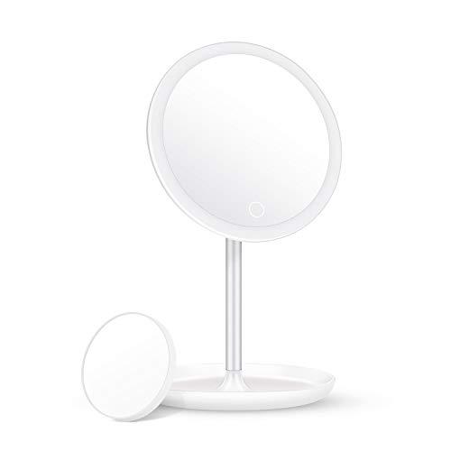 ELEHOT Espejo Maquillaje con Luz con Espejo Aumento 5X Espejo Led portátil con 360 Rotación Batería/Recargable USB, Espejos Redondos Blanco
