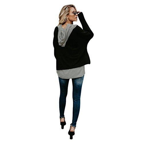 YiLianDa Femme Sweatshirt Automne Tops à Manches Longues Rayé Encapuchonné Sweats à Capuche Chemisiers Noir