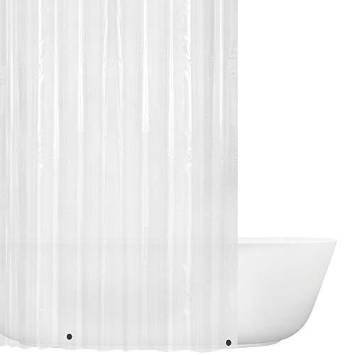 Wimaha - Cortina de ducha (180 x 180 cm), transparente – no tóxico, respetuoso con el medio ambiente, sin olores químicos, resistente al moho, a prueba de óxido e imanes muy resistentes