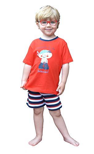 Moonline Jungen Pyjama,104/110,Mandarine/Navy/Weiß -