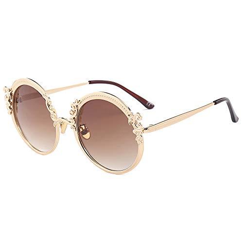 LXXSSRA Sonnenbrille Fashion Steampunk Round Sonnenbrille Damen Herren Gold Frame Vintage Sonnenbrille Damen Uv400 Gold Grey