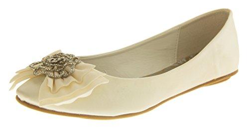Occasions Rosie Satin Ballerine Chaussures de Mariage Femmes Ivoire