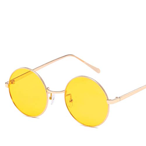 Mkulxina Anti-Blue-Light-Brille Retro Runde Metall Unisex Flache Brillen für Frauen Männer (Color : Gold, Design : Yellow Lens)