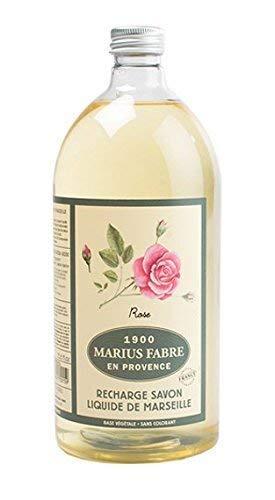 Marius Fabre Olivenöl-Seife Duftnote Rose 1L Nachfüllflsche Flüssigseife Serie HERBIER - Antimikrobielle Seife