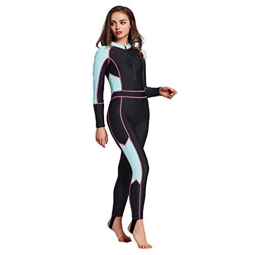 AIni Damen Neoprenanzug,Sport Wetsuit Schwimmen Surfanzug Surfen Tauchen Schnorcheln Badeanzug Einteiliger Langarm Surfanzug Sonnenschutz(XXL,Blau)