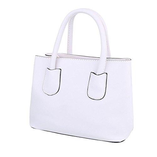 iTal-dEsiGn Damentasche Kleine Schultertasche Handtasche Kunstleder TA-C2213 Weiß