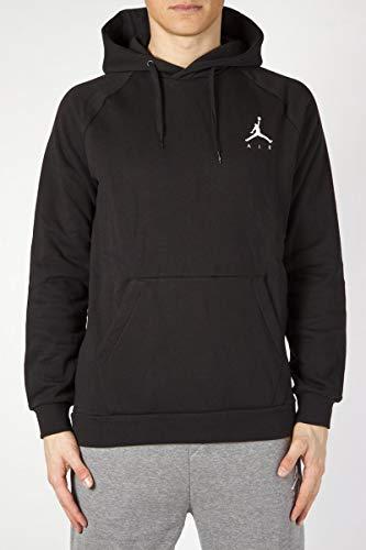 Jordan Fleece Hoody (Nike Herren Jumpman Fleece PO Sweatshirt, Black/White, XL)