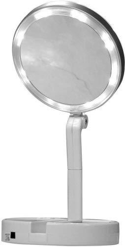 Schminkspiegel Schönheit & Gesundheit 6 Led Platz Faltbare Make-up Spiegel Doppelseitige Abs Hd Spiegel Make-up-tools üBerlegene Materialien