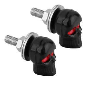 PAIR of SKULL License Plate Frame BOLTS Screw Caps for Motorcycle Chopper