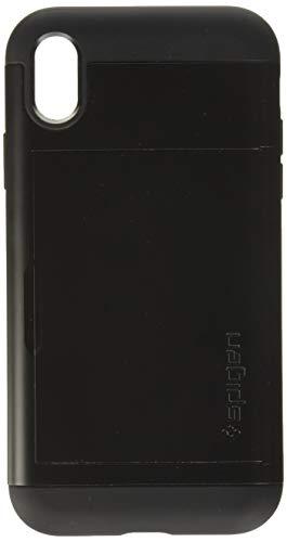 Spigen Coque iPhone XR [Slim Amor CS] Porte Carte, Coque Renforcée, PC Resistant, Air Cushion, Anti-Choc [Noir] Coque Etui Carte Housse pour iPhone XR (6.1 Pouces) (2018) (064CS24882)