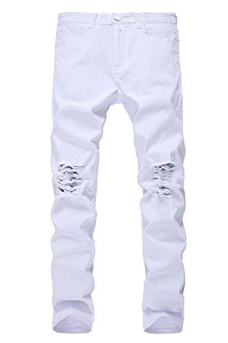 Santimon Herren Slim Fit Zerstört Farbig Jeans Knie-Ripped Dünn Denim Hosen Weiß 34