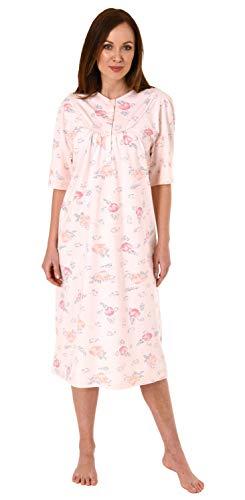 Jeanette by Normann Damen Kurzarm Nachthemd fraulich, 105 cm Länge, florales Muster - 63544, Größe2:40/42, Farbe:Rose