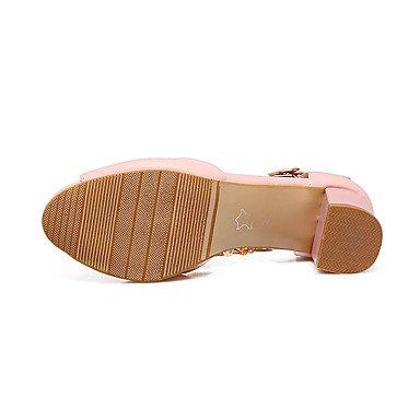 LvYuan Da donna Sandali Comoda Cinturino alla caviglia Di pelle Estate Formale Comoda Cinturino alla caviglia Perline Catenina QuadratoBianco blushing pink